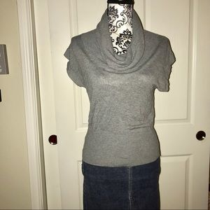 H&M cowl neck short sleeved gray top